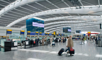 Heathrow Airport, Terminal 5A, landside, Departures Level, check-in hall. Copyright BAA Airports Limited