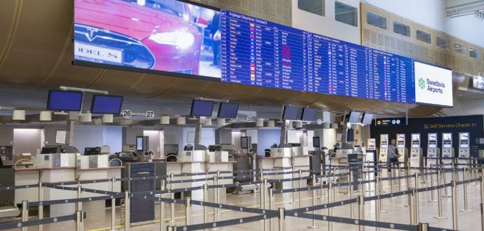Jumbo LED displays installed at Stockholm Arlanda Airport